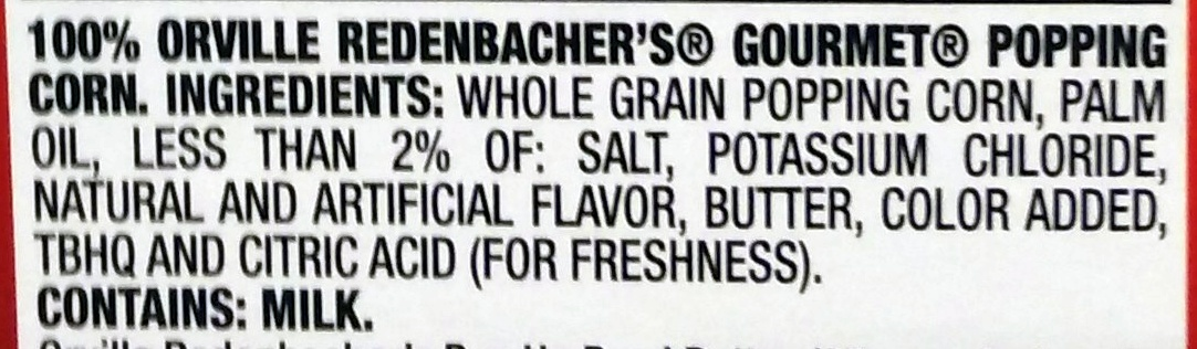 Light Butter Popping Corn - Ingrédients