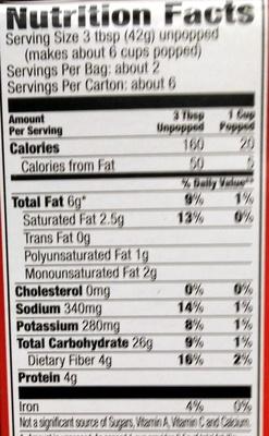 Light Butter Popping Corn - Informations nutritionnelles