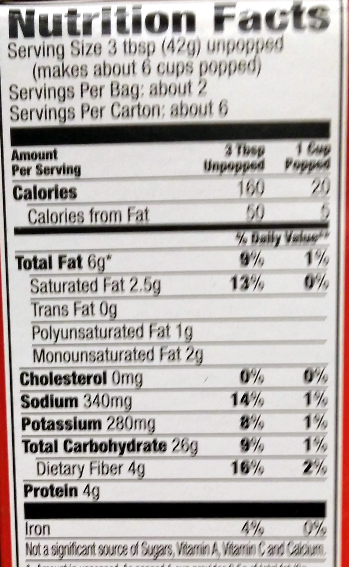 ORVILLE REDENBACHERS Light Butter Popcorn, 8.07 OZ - Informations nutritionnelles - en
