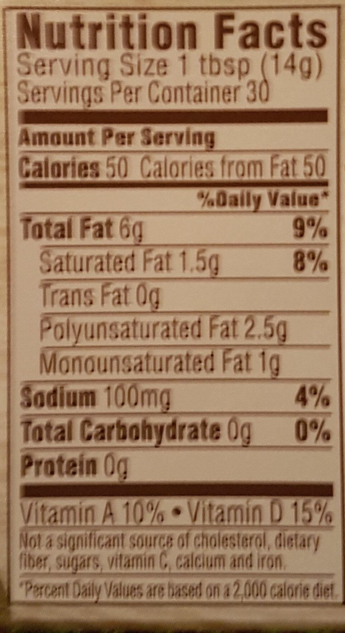 Country crock, original, 40% vegetable oil spread - Nutrition facts - en