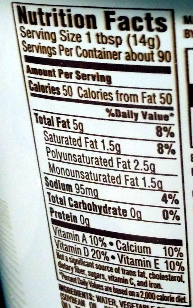 Country Crock Calcium Plus Vitamin D, 39% Vegetable Oil Spread - Informations nutritionnelles