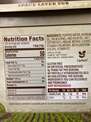 Country crock, original, 40% vegetable oil spread - Información nutricional - en