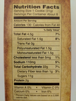 Archway, soft cookies, dutch cocoa, dutch cocoa - Nutrition facts - en
