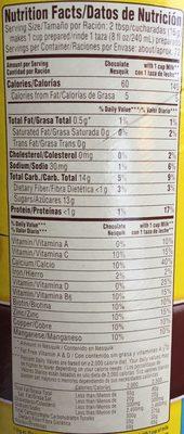 Nesquik Drink Powder - Chocolate - Nutrition facts