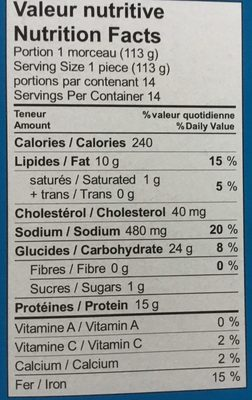 Filets de Goberge de l'Alaska pour sandwiches - Nutrition facts