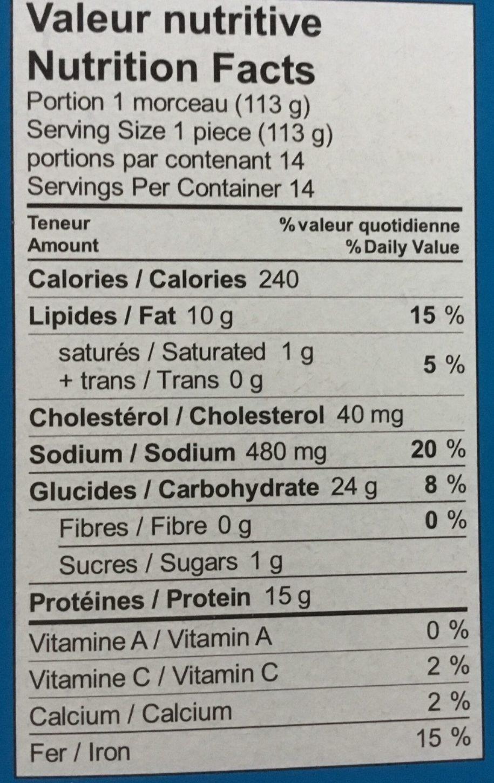 Filets de Goberge de l'Alaska pour sandwiches - Nutrition facts