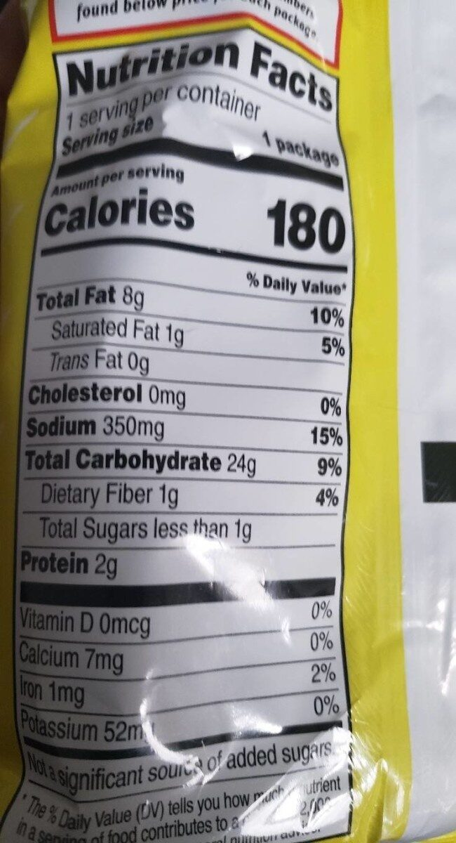 Onion flavored rings - Nutrition facts