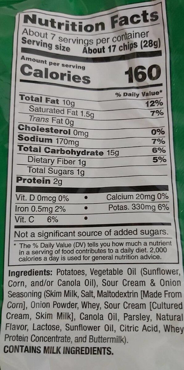 Potato Chips Sour Cream & Onion Flavored - 营养成分 - en