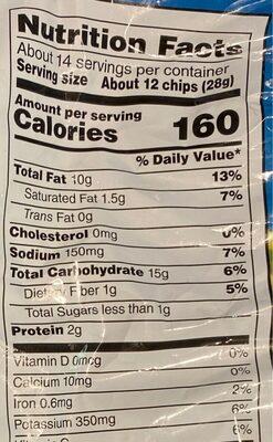 Ruffles Original Party Size Potato Chips 13.5 Ounce Plastic Bag - Nutrition facts - en