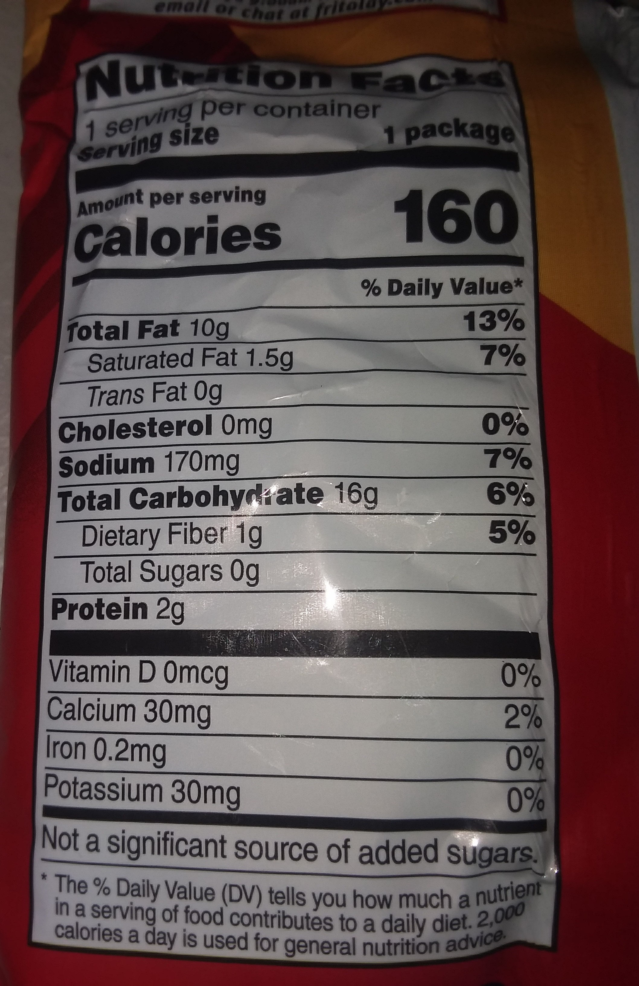 Fritos Original Corn Chips 1 Ounce Plastic Bag - Nutrition facts - en