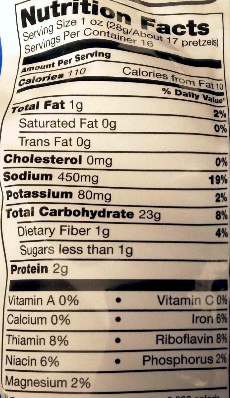 Rold Gold Tiny Twists Original Pretzels 16 Ounce Plastic Bag - Nutrition facts - en