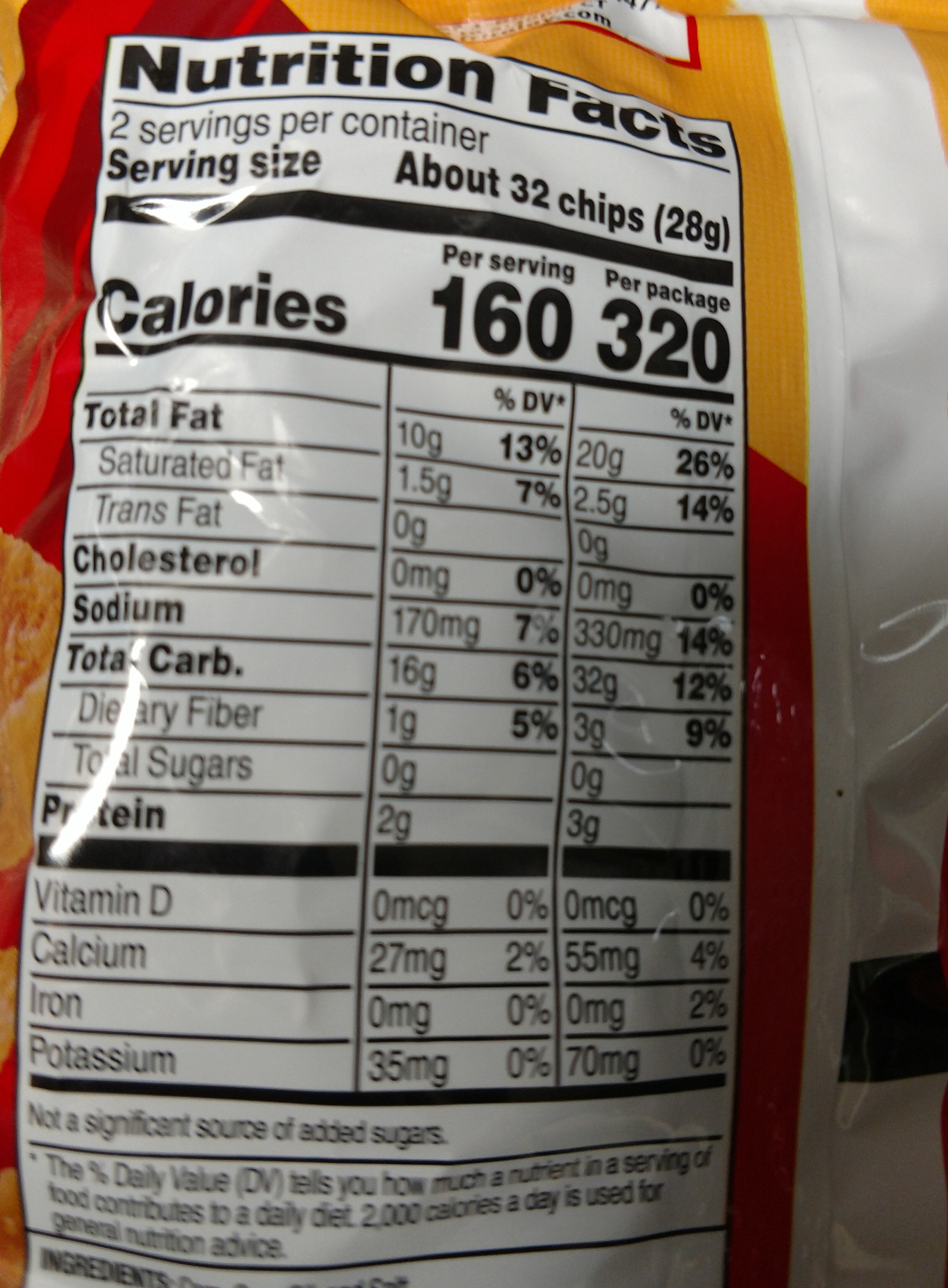 Fritos Original Corn Chips 2.0 Ounce Plastic Bag - Nutrition facts - en
