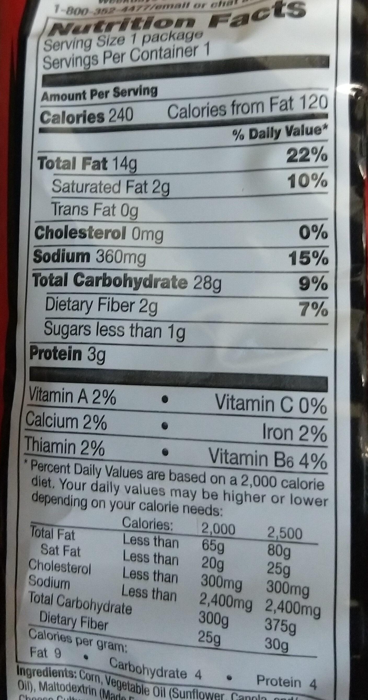 Doritos Nacho Cheese Tortilla Chips 1.75 Ounce Plastic Bag - Nutrition facts - en