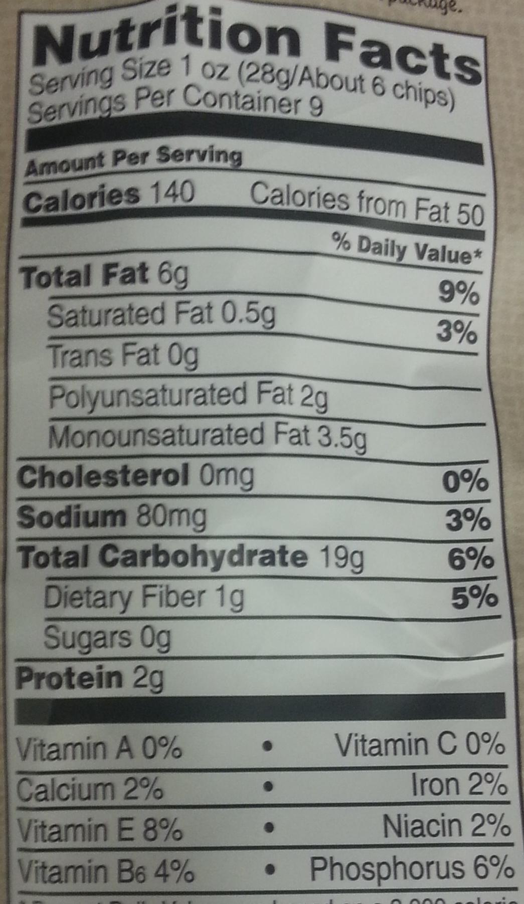 Corn Tortilla Chips Nutrition Facts