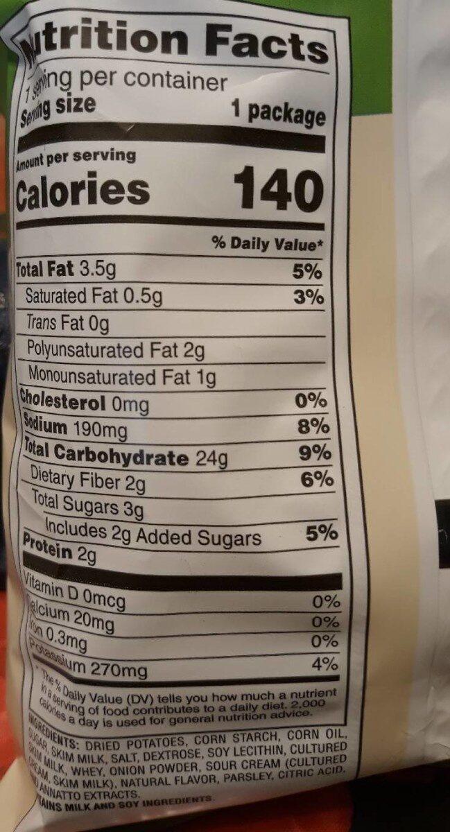 Oven baked potato crisps - Nutrition facts - en