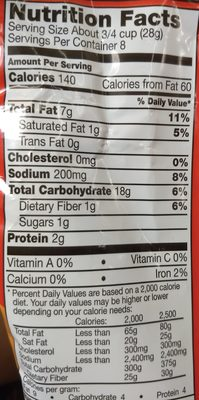 Munchies Cheese Fix Snack Mix 8 Ounce Plastic Bag - Nutrition facts