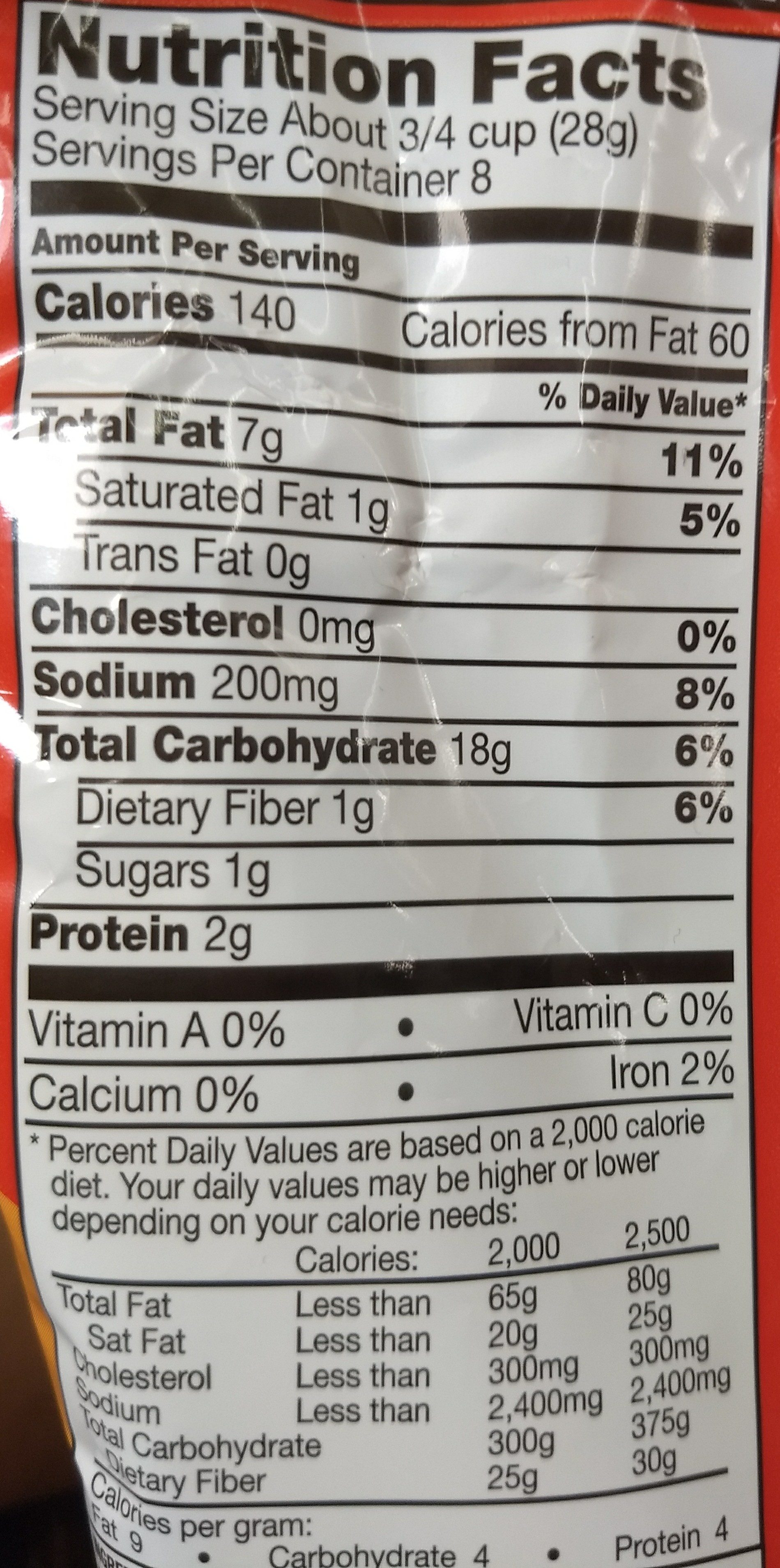 Munchies Cheese Fix Snack Mix 8 Ounce Plastic Bag - Nutrition facts - en