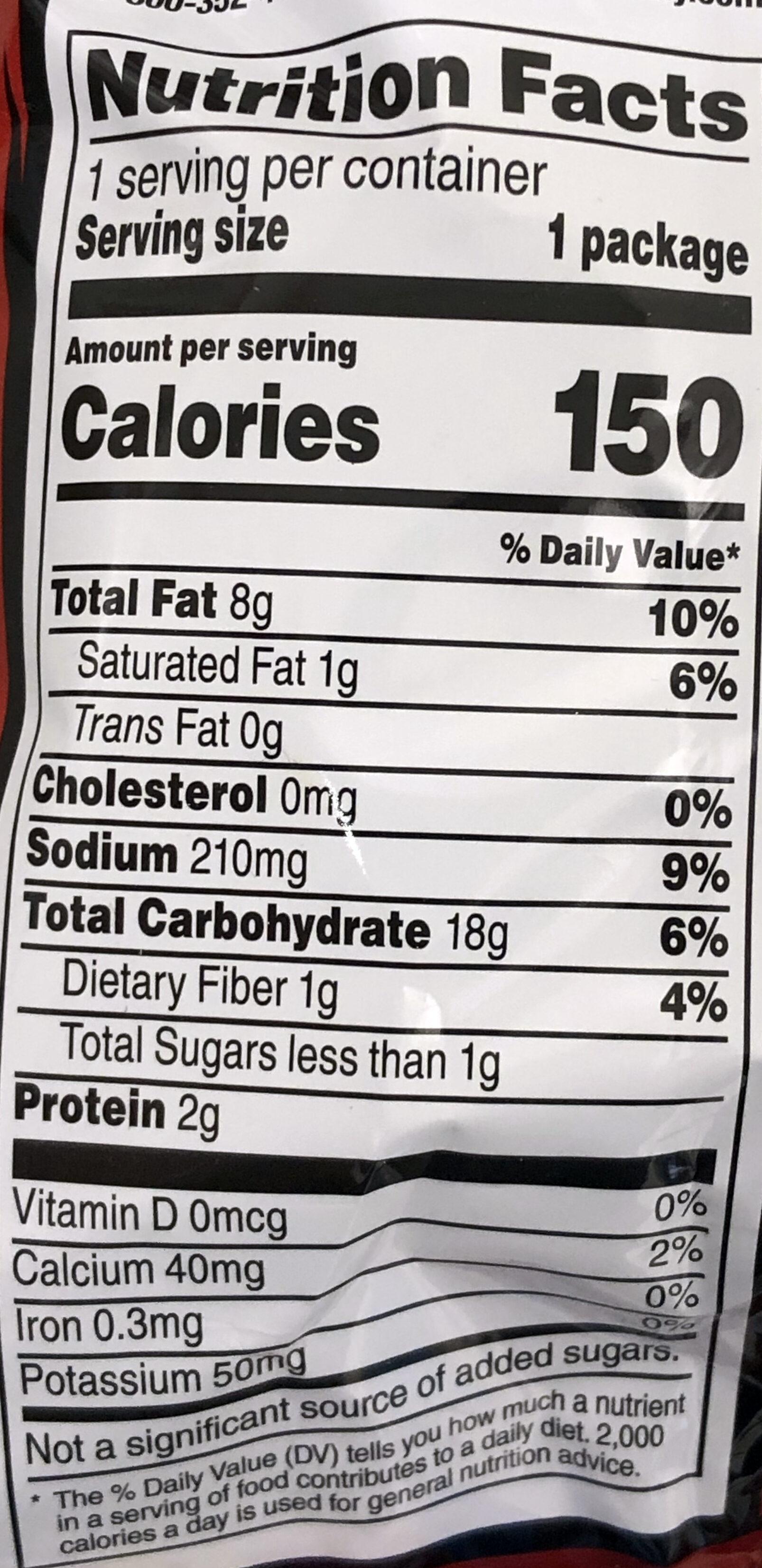 Doritos Nacho Cheese - Informations nutritionnelles