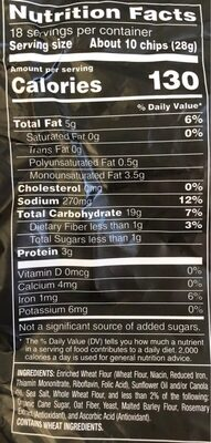 Stacy's Pita Chips Simply Naked Party Size 18 Ounce Plastic Bag - Nutrition facts - en