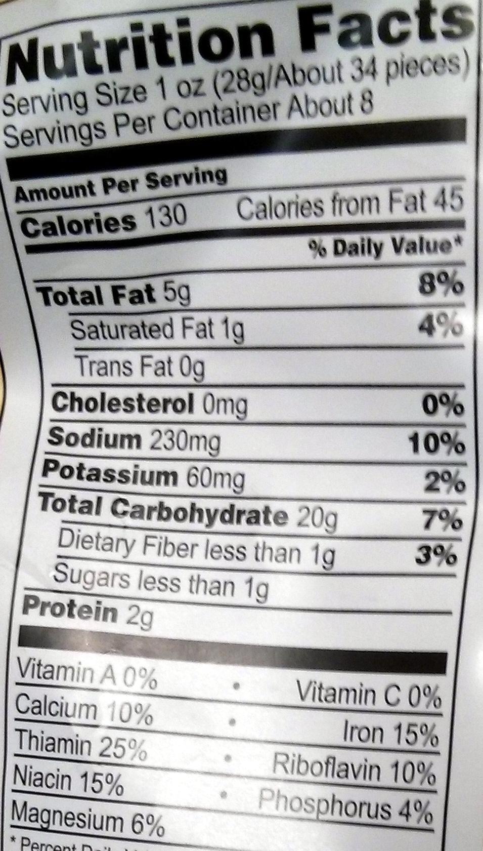 Baked Cheetos - Voedigswaarden