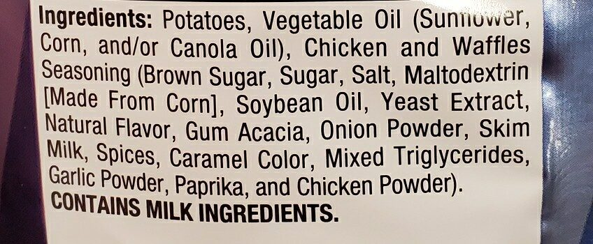 Lays chicken and waffle - Ingredients - en
