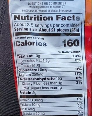 Cheetos - Nutrition facts - en