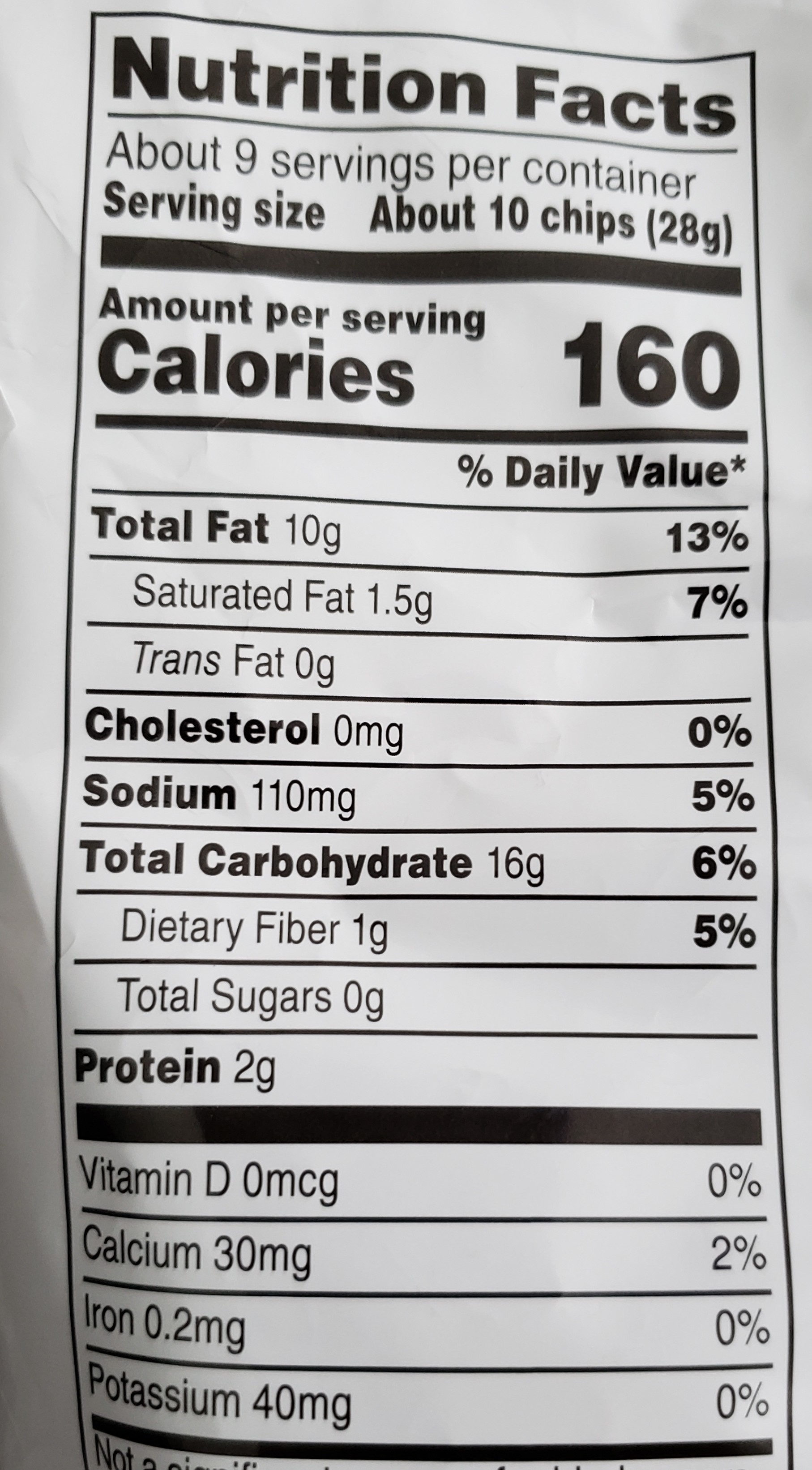 Fritos Scoops - Nutrition facts