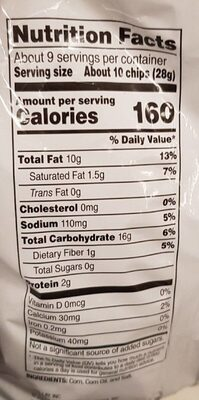 Scoops! corn chips - Nutrition facts - en