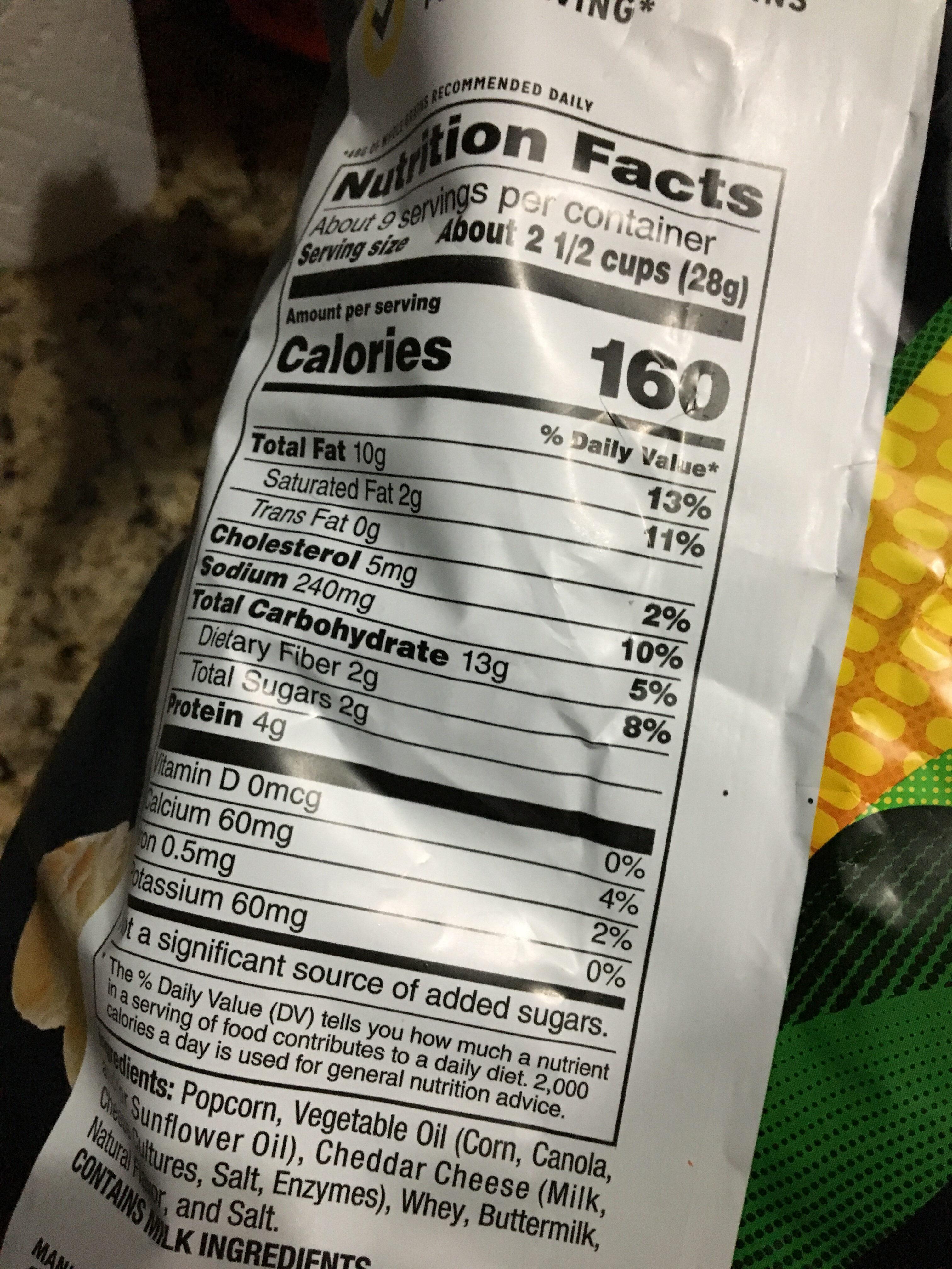 popcorn white cheddar - Nutrition facts - en