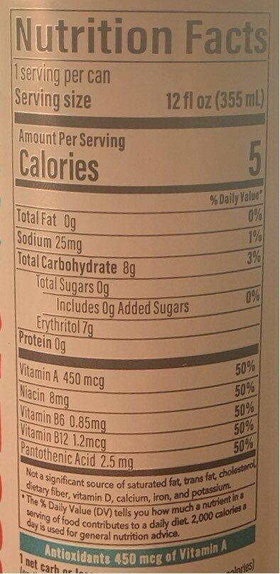 Antioxidant Sparkling Water - Nutrition facts - en