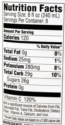 Tree top, 100% apple juice - Nutrition facts - en
