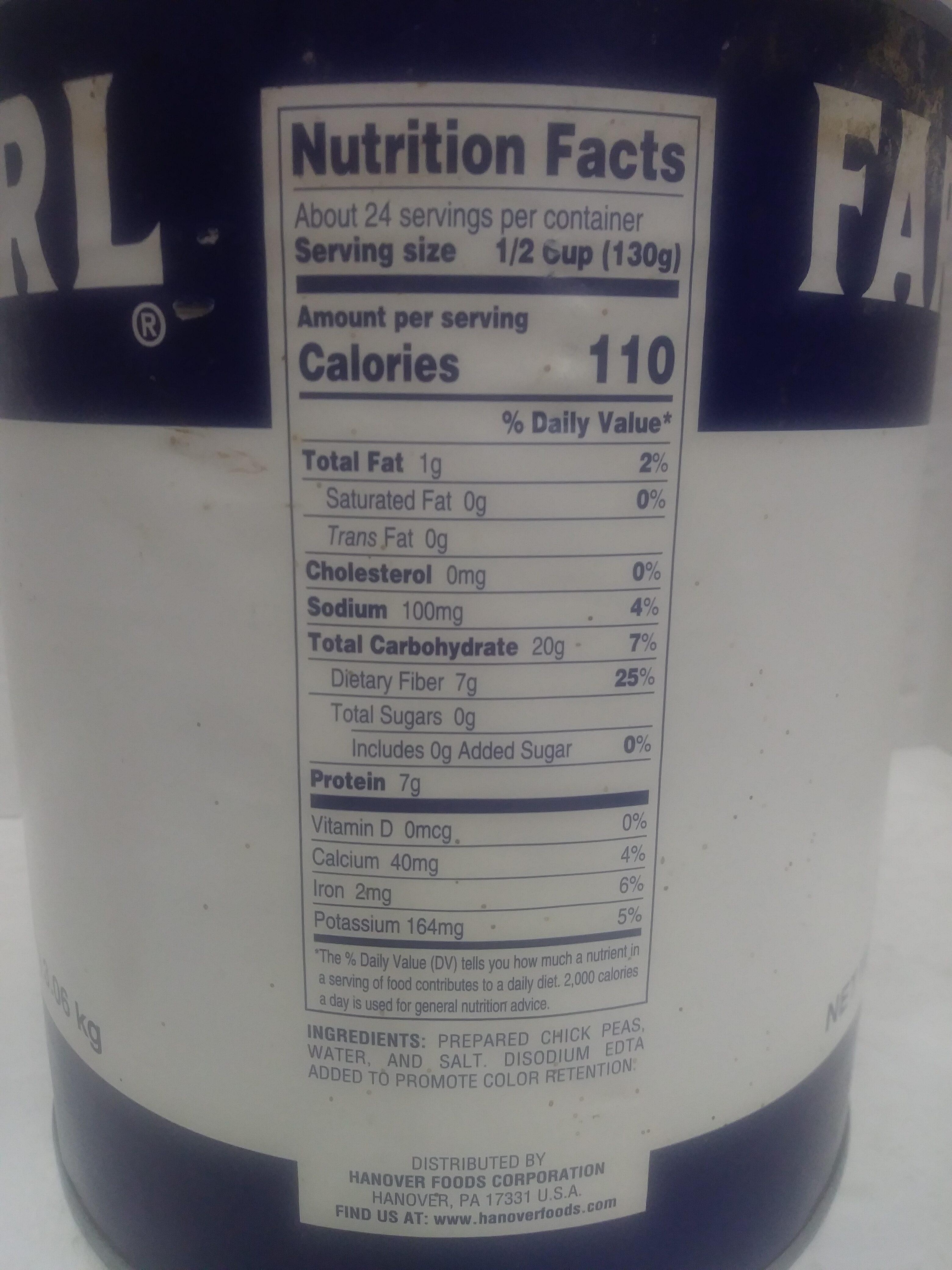 Garbanzo Beans - Valori nutrizionali - en