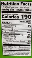 Morningstar Farms Veggie Burgers Spicy Black Bean 50.8oz - Informations nutritionnelles - en