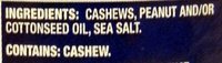 Planters, lightly salted cashews halves & pieces, lightly salted, lightly salted - Ingrédients - en