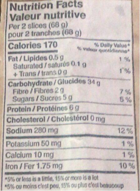 Demi baguette figues dattes mélasse - Informations nutritionnelles - fr