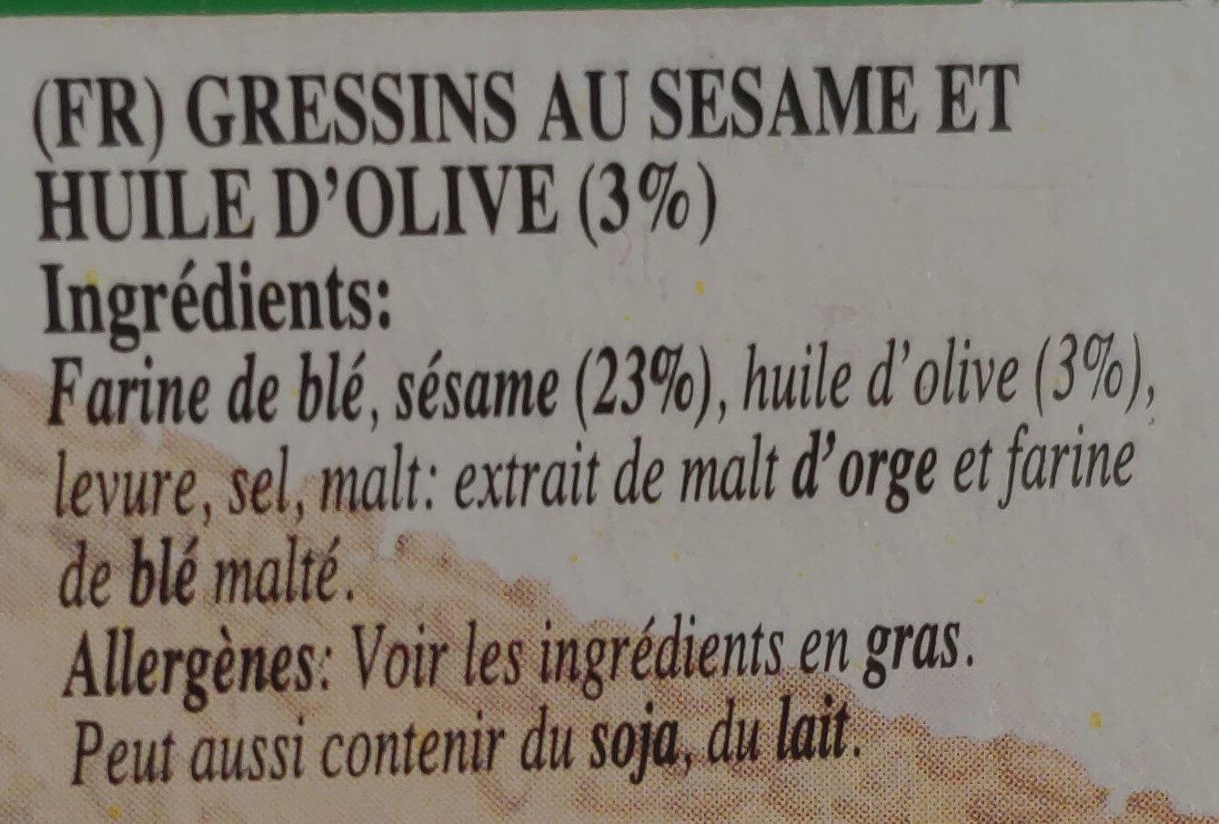 Grissinis Au Sésame - Ingredients - fr