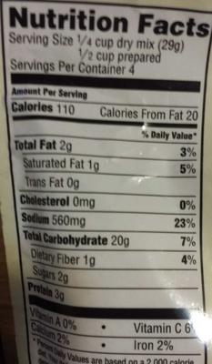 Idahoan roasted garlic and parmesan mashed potatoes - Nutrition facts