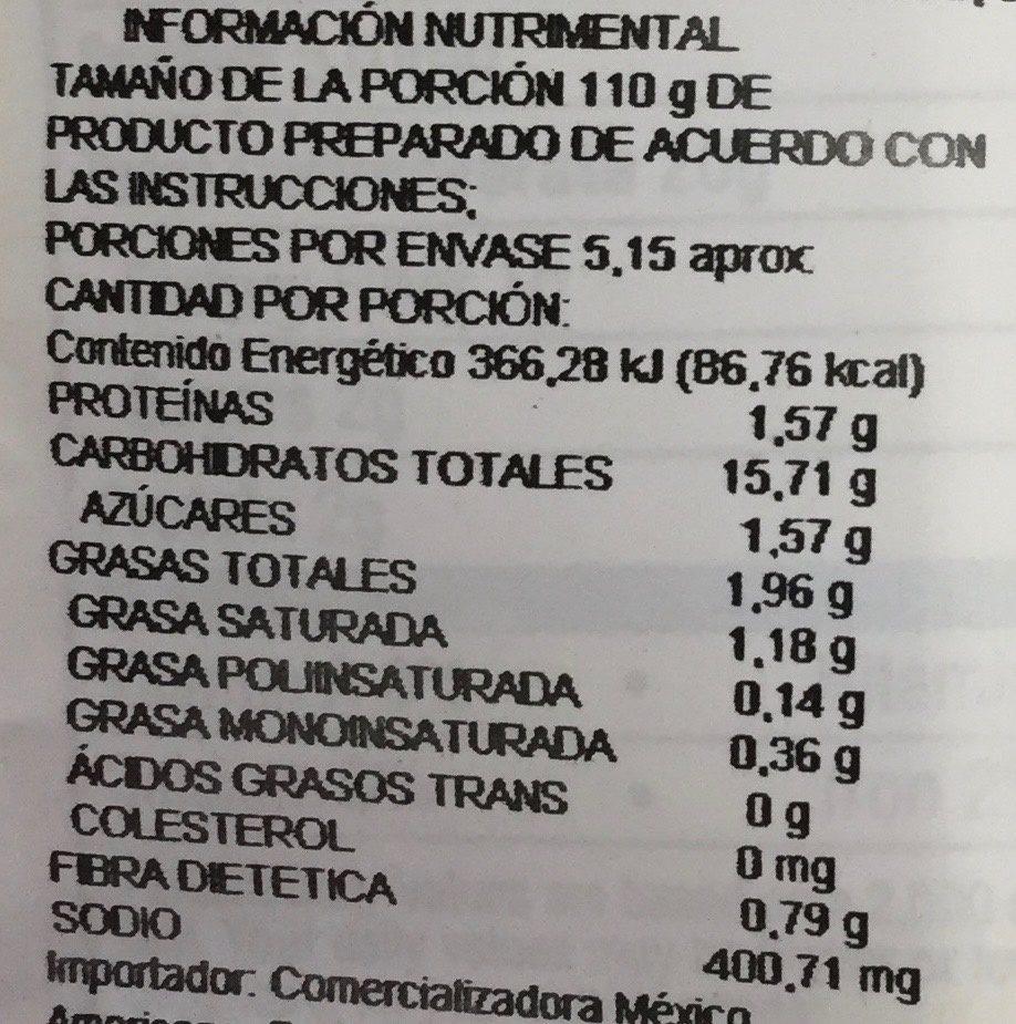 Idahoan, loaded baked mashed potatoes - Información nutricional - es