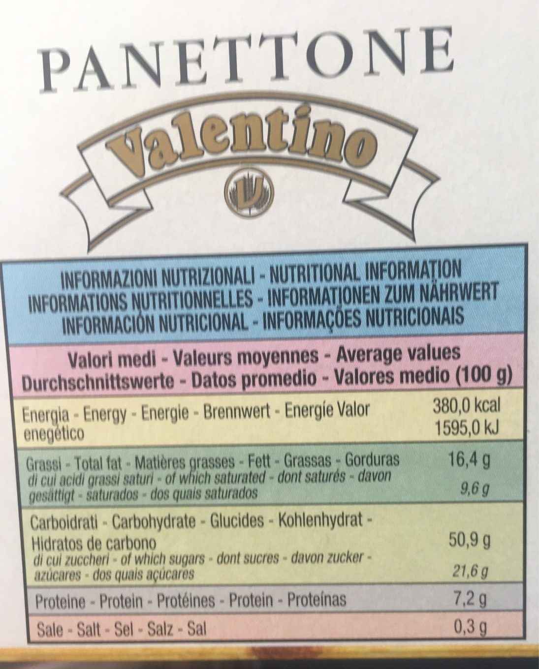 Valentino Cake Italian Specialty, Panettone - Informations nutritionnelles - fr