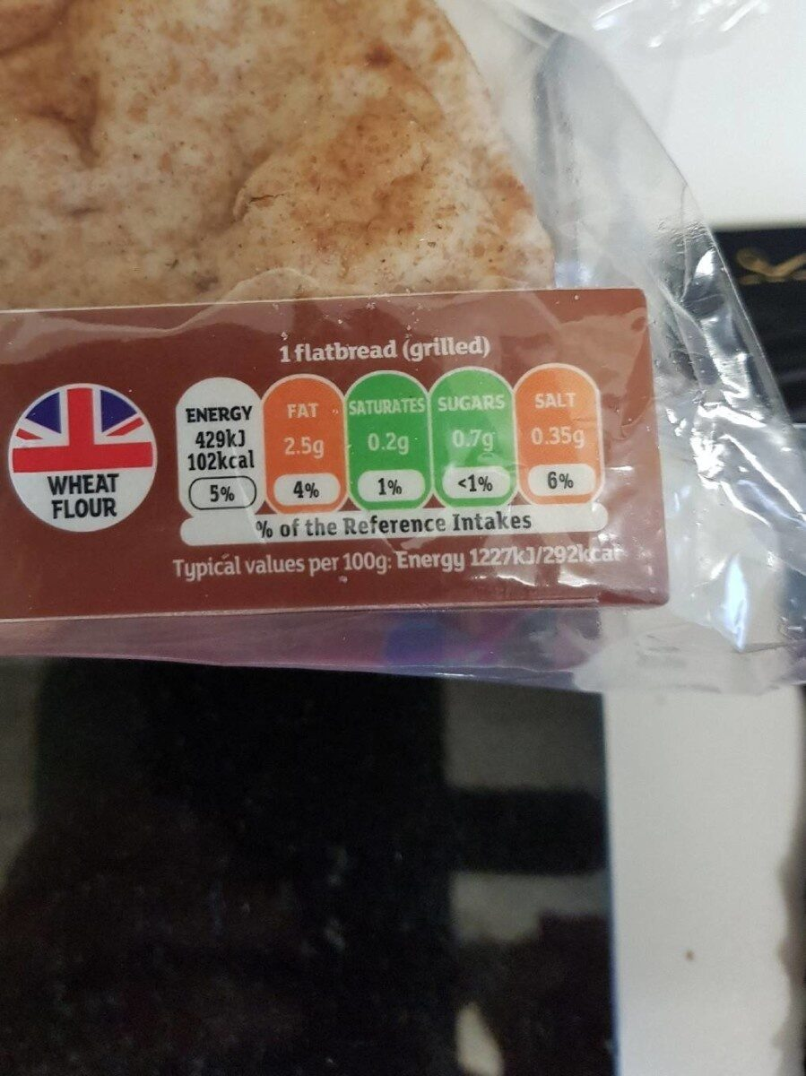 Wholemeal folded flatbread - Nutrition facts