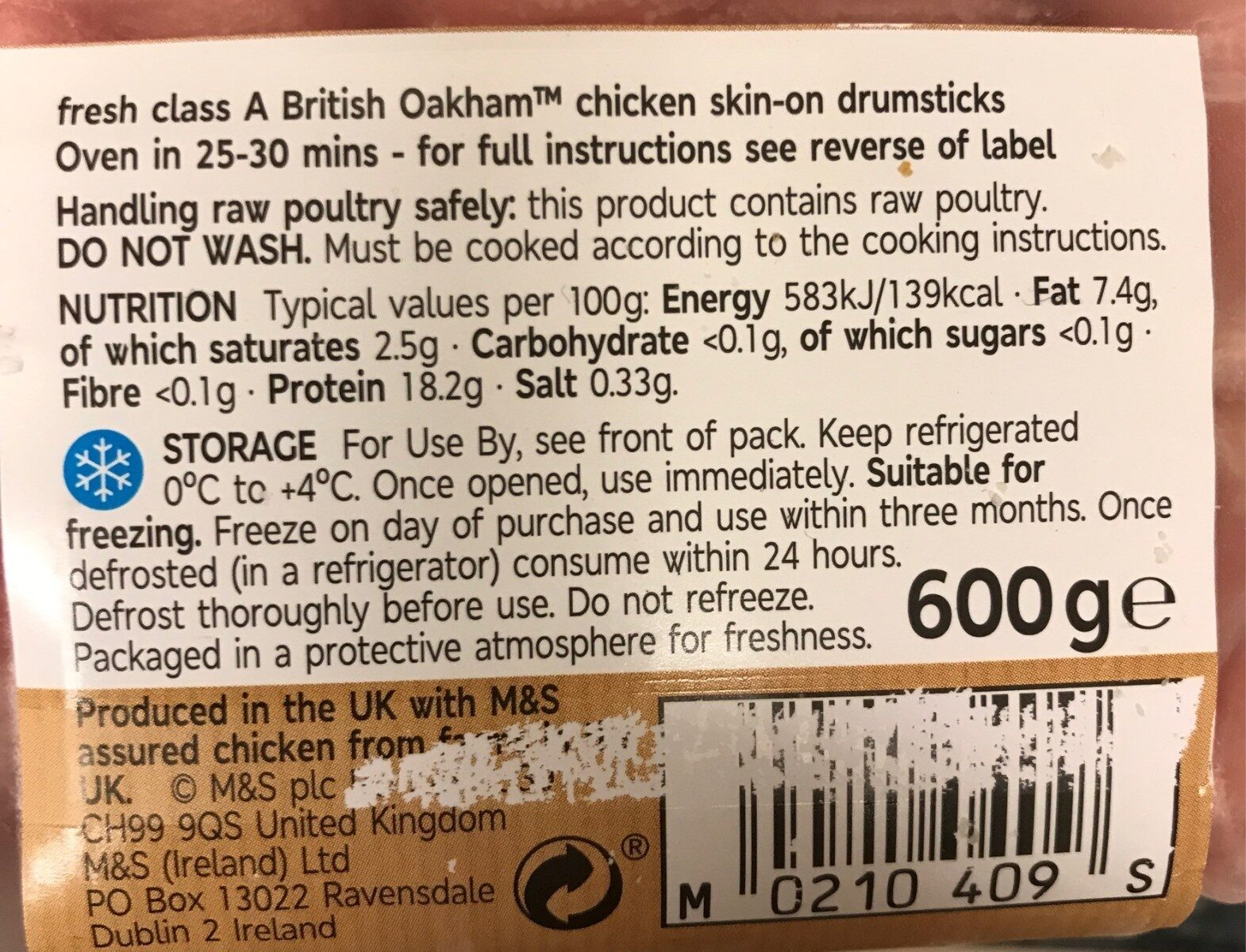 Chicken drumsticks - Nutrition facts - en
