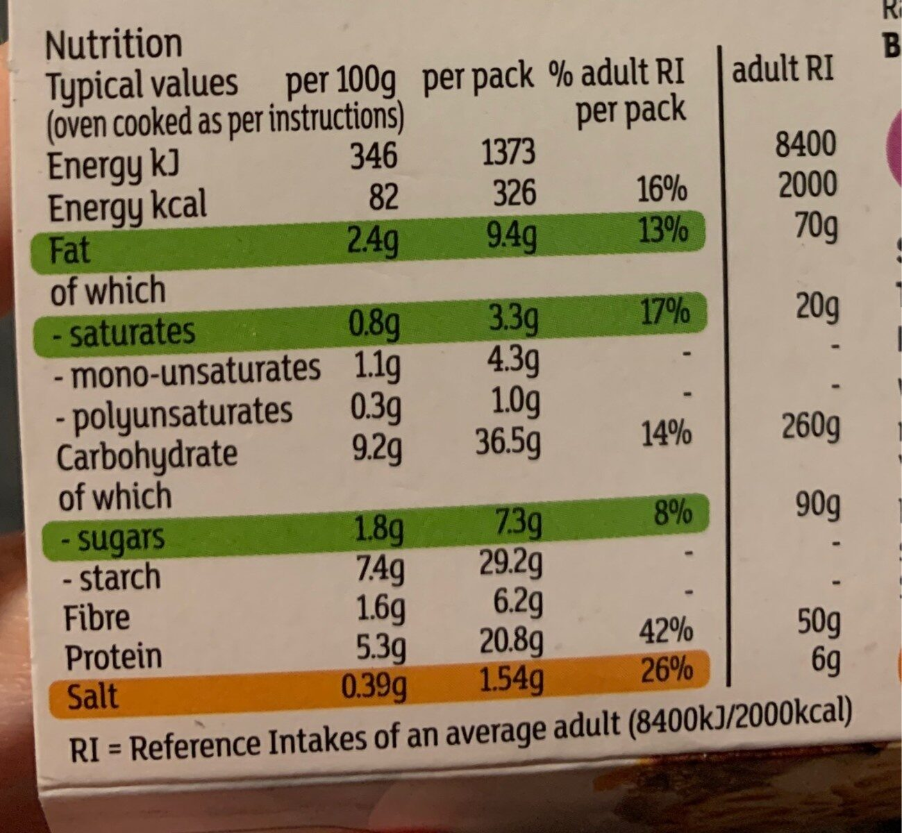 Cottage pie - Nutrition facts - en