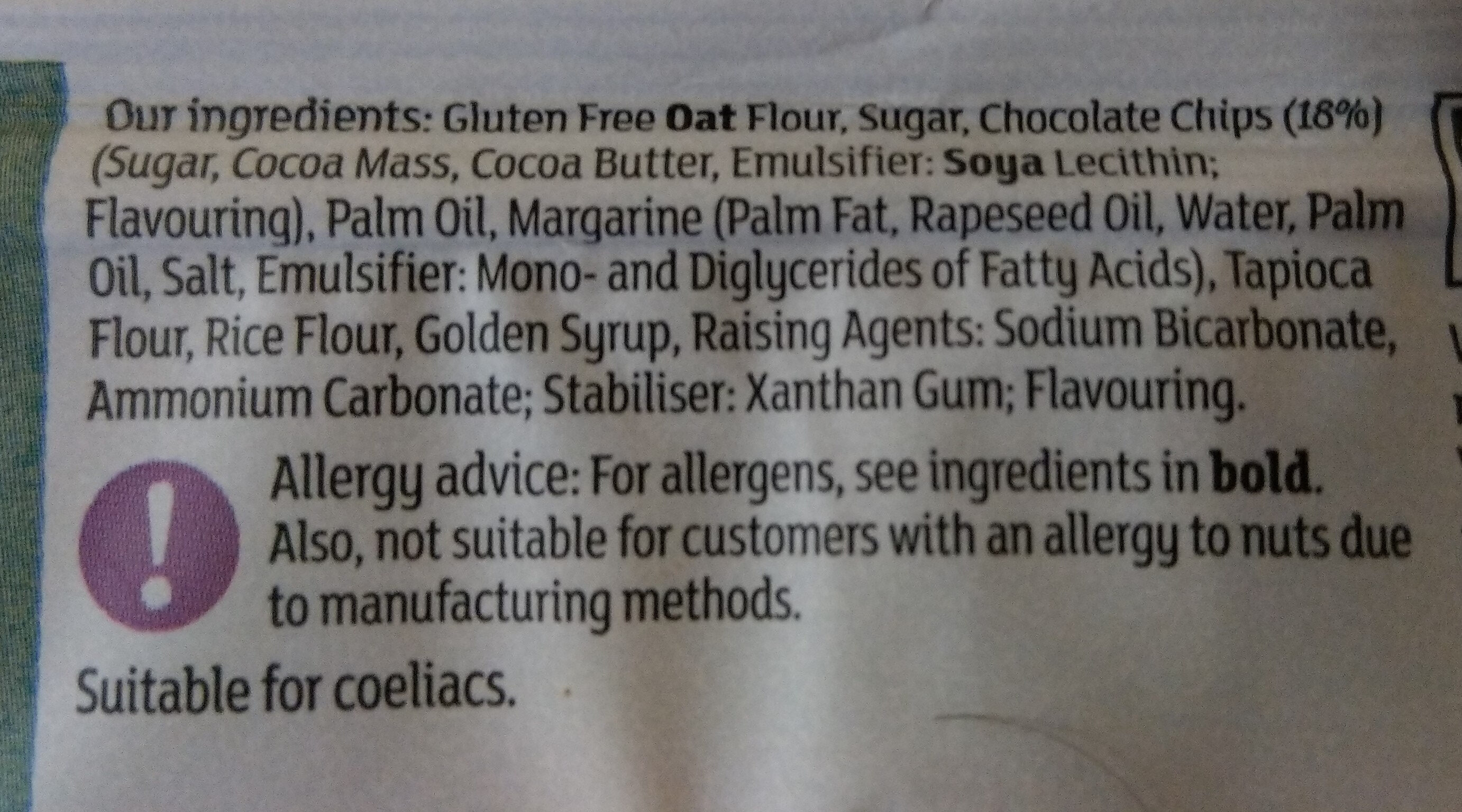 Deliciously Free From Chocolate Chip Cookies - Ingredients - en