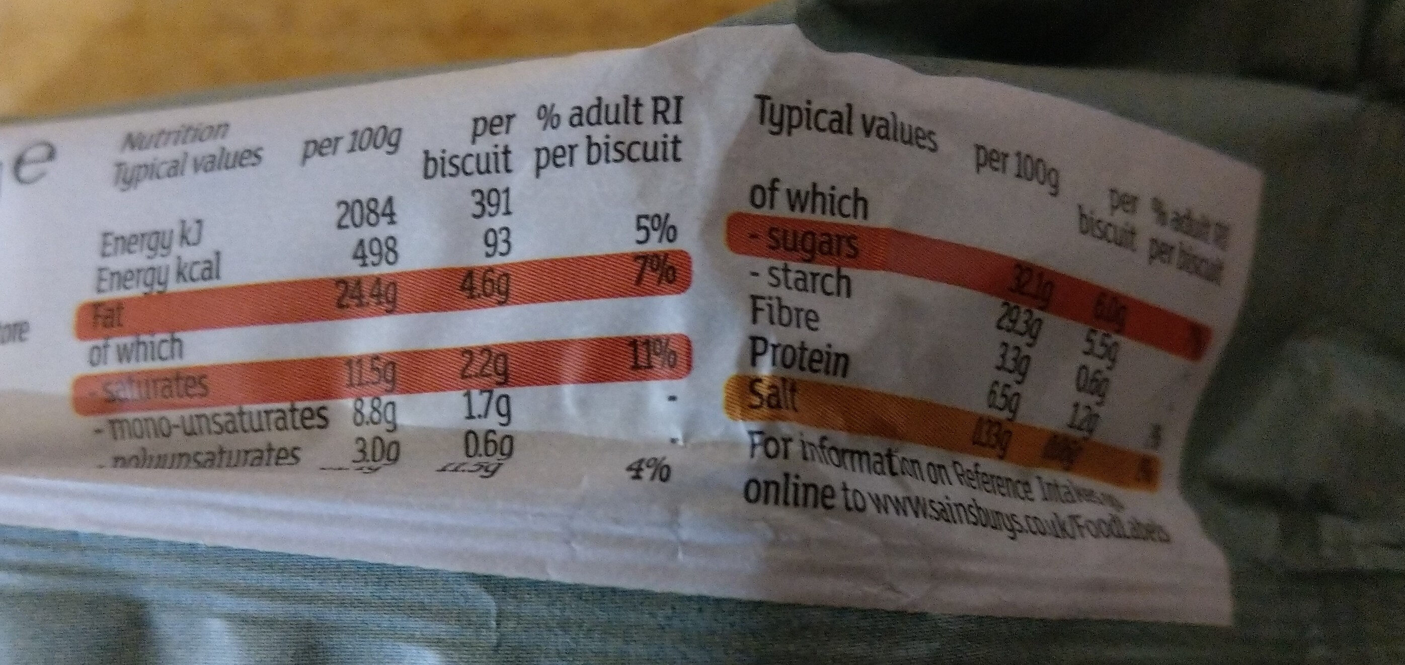 Chocolate Chip Cookies - Nutrition facts