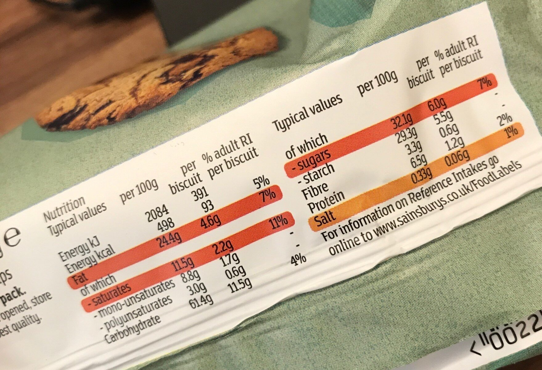 Deliciously Free From Chocolate Chip Cookies - Nutrition facts - en