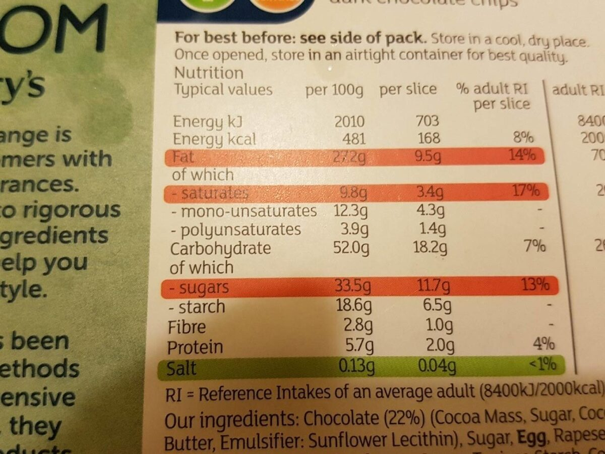 4 chocolat brownies - Informations nutritionnelles - fr