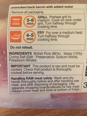 Britich unsmoked back bacon - Ingrediënten - fr