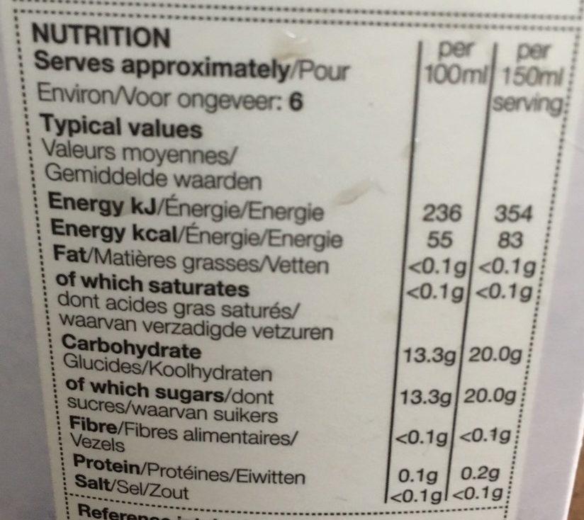 Jus de cranberry - Nutrition facts