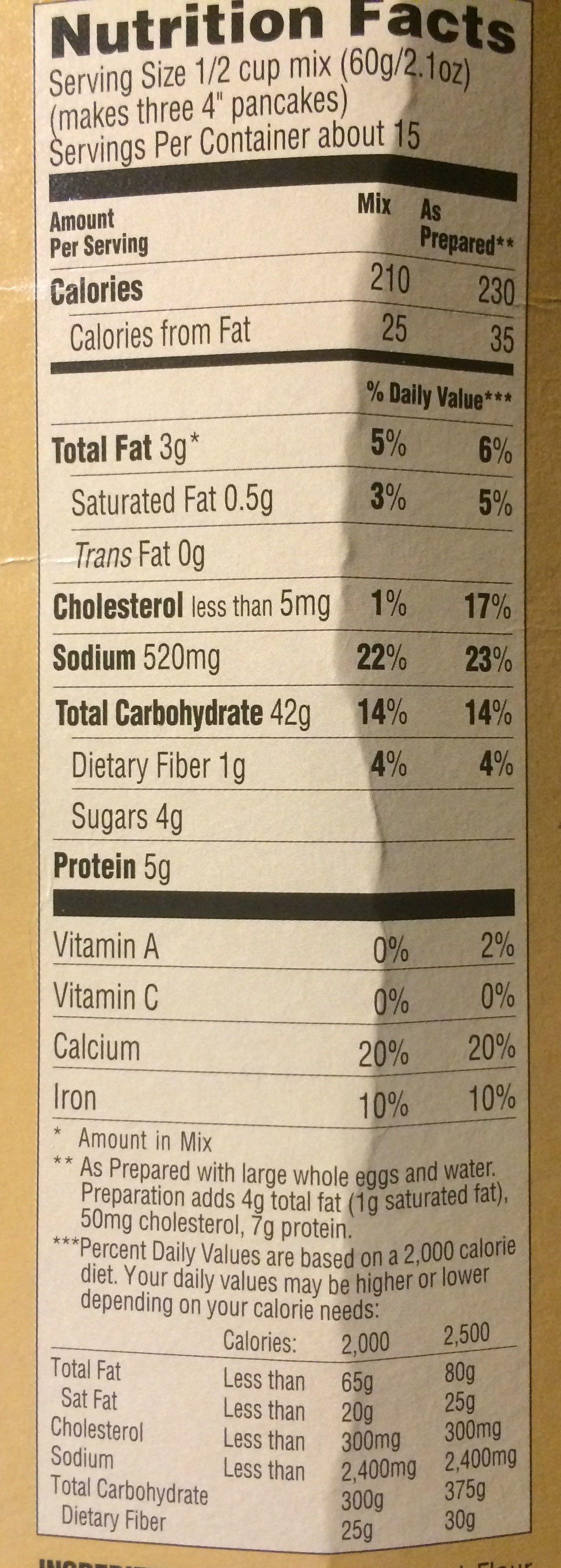 Buttermilk Pancake - Informations nutritionnelles - fr