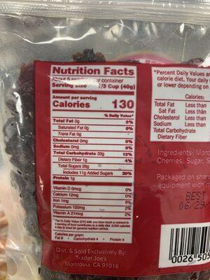 Trader joe's, dried pitted tart montmorency cherries - Nutrition facts - en